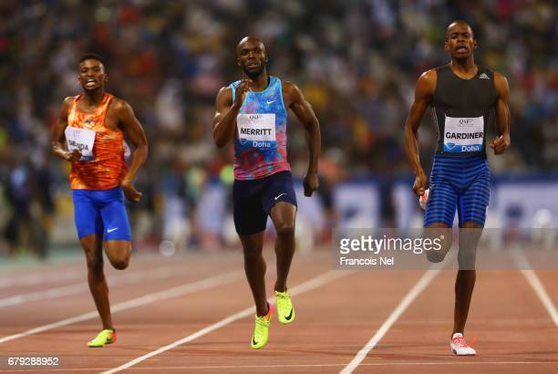 Karabo Sibanda of Botswana LaShawn Merritt of the United States and Steven Gardiner of the Bahamas compete in the Men's 400 metres during the Doha...