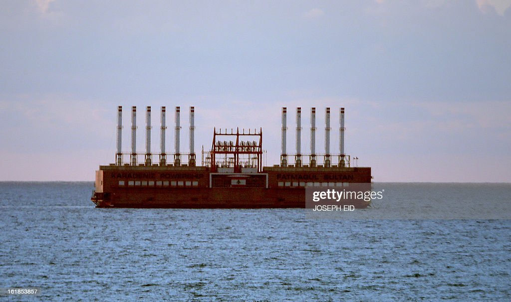 Karadeniz Powership Fatmagul Sultan from Turkey sails off the Lebanese shores on February 17, 2013. A member of Karadeniz Holding's powership fleet, Karadeniz Powership Fatmagul Sultan, is bound for Beirut to supply electricity to Lebanon.