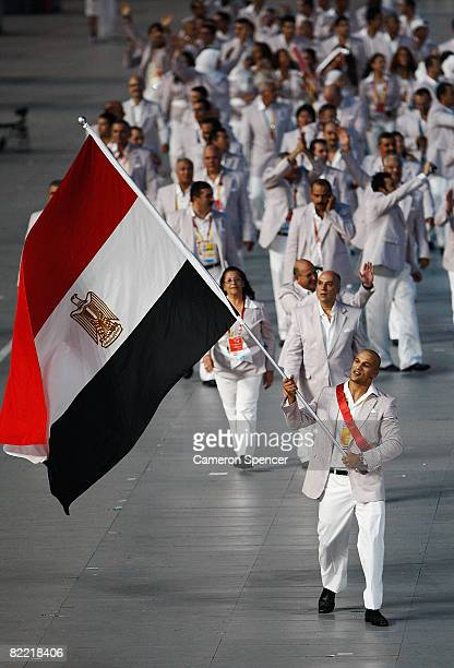 Karam Ibrahim of Egypt carries the national flag during the Opening Ceremony for the 2008 Beijing Summer Olympics at the National Stadium on August 8...