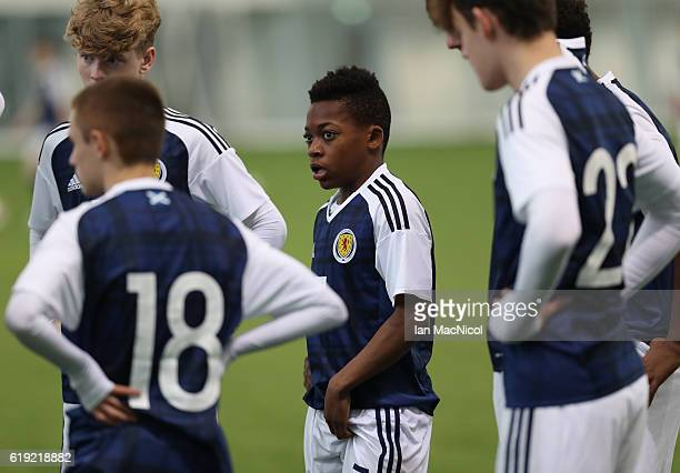 Karamoko Dembele of Scotland is seen prior to the Scotland v Northern Ireland match during the U16 Victory Shield Tournament at The Oriam at Heriot...