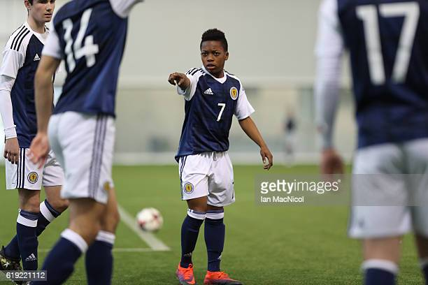 Karamoko Dembele of Scotland is seen prior to the Scotland v Northern Ireland match during the U16 Vicrory Shield Tournament at The Oriam at Heriot...