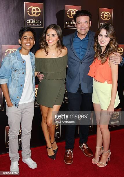 Karan Brar Electra Formosa George Caceres and Laura Marano attends 'The Celebrity Experience' panel at The Universal Hilton Hotel on July 12 2015 in...