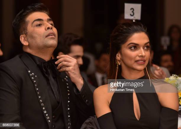Karan Johar and Deepika Padukone during the HT Most Stylish Awards at Bandra on March 24 2017 in Mumbai India