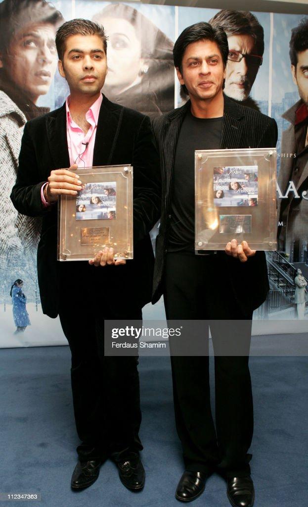 Karan Johar and Shah Rukh Khan during 'Kabhi Alvida Naa Kehna' Photocall at Berkeley Hotel in London Great Britain