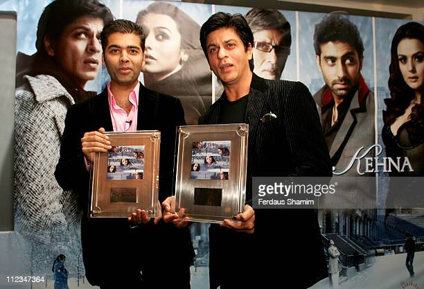 Karan Johar and Shah Rukh Khan during 'Kabhi Alvida Naa Kehna' Photocall at Berkeley Hotel in London Great Britain