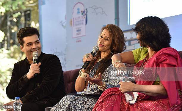 Karan Johar Shobhaa De and Poonam Saxena during the session 'An Unsuitable Boy' at Jaipur Literary Festival 2016 on January 21 2016 in Jaipur India...