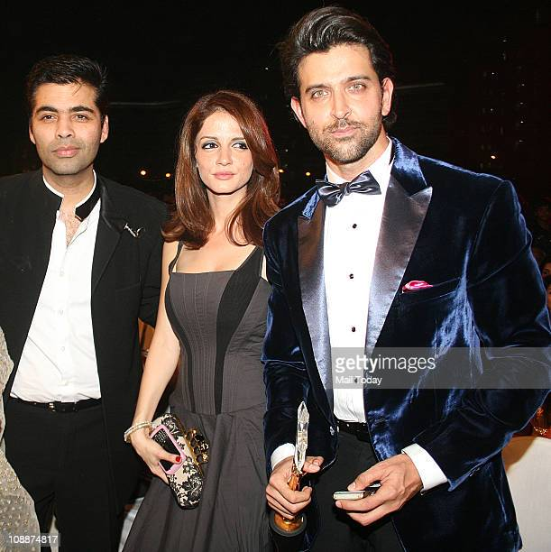Karan Johar Suzanne and Hrithik Roshan during the Stardust Awards function in Mumbai on Sunday evening