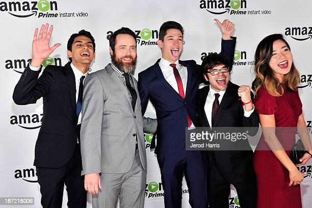Karan Soni Jon Daly Jon Dinicol Charlie Saxton and Maya Erskine arrive at Amazoncom red carpet launch party for 'Alpha House' and 'Betas' Los Angeles...