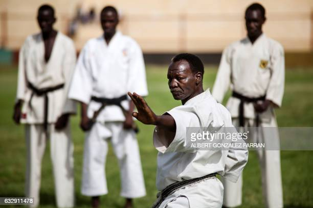 Karate master Tarik Sabay performs on January 28 during the opening ceremony of the second National Unity Day at the Juba National Football Stadium...