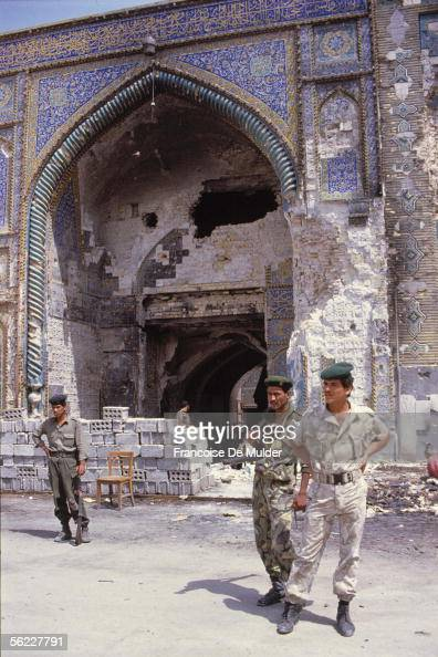Karbala Entry of the mosque Abbas shiite sanctuary guarded by soldiers april 1991