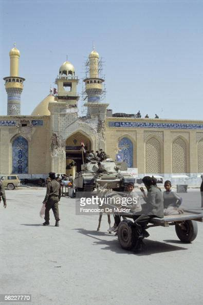 Karbala Mosque alHusayn Tank in front of the gate touched by bombardments April 1991 FDM82915