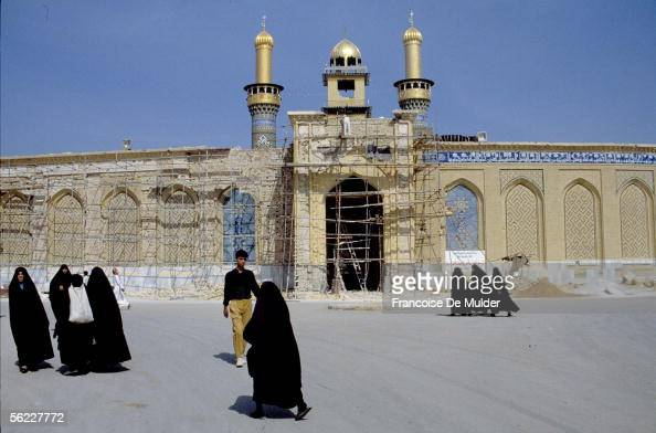 Karbala Mosque alHussayn during its restoration after bombardments of the gulf war october 1991