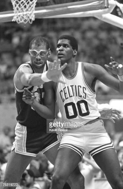 Kareem Abdul Jabbar and Robert Parish during the 1984 NBA Finals