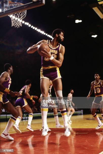Kareem Abdul Jabbar of the Los Angeles Lakers grabs a rebound against the Milwaukee Bucks at the Mecca in Milwaukee Wisconsin NOTE TO USER User...