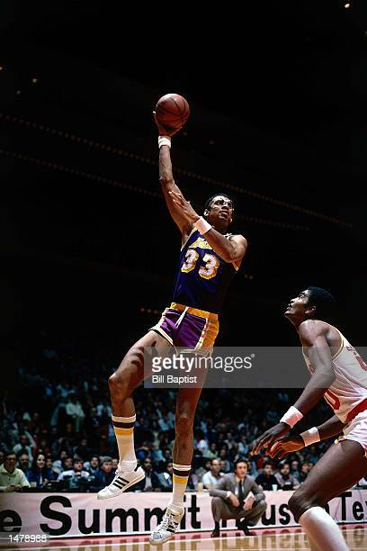 Kareem Abdul Jabbar of the Los Angeles Lakers shoots a sky hook against the Houston Rockets at the Summit in Houston Texas NOTE TO USER User...