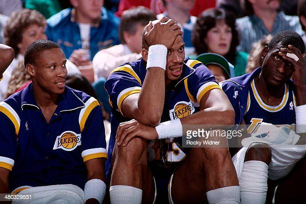 Kareem Abdul Jabbar of the Los Angeles Lakers sits on the bench circa 1989 at Arco Arena in Sacramento California NOTE TO USER User expressly...
