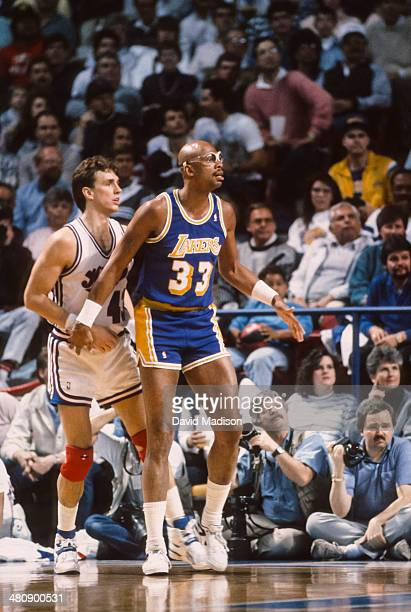 Kareem Abdul Jabbar of the Los Angeles Lakers waits for the ball during an NBA game against the Sacramento Kings played on March 23 1989 at Arco...