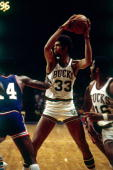 Kareem Abdul Jabbar of the Milwaukee Bucks looks to make a move during the 1969 season at the MECCA Arena in Milwaukee Wisconsin NOTE TO USER User...