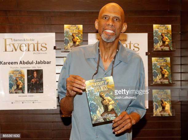 Kareem Abdul Jabbar with his book 'Mycroft Holmes and the Apocalypse Handbook' at Barnes Noble at The Grove on September 28 2017 in Los Angeles...