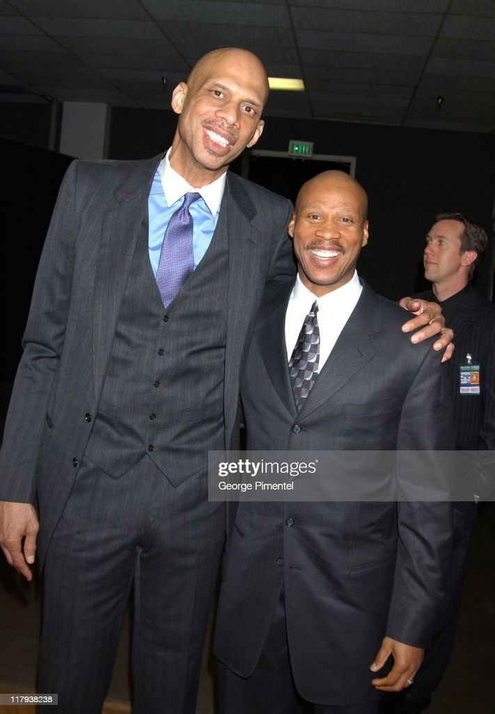 Kareem Abdul-Jabbar and Byron Scott during TNT Sports Presents the American Express 'Magic' Johnson All Star Celebration at Shrine Auditorium in Los Angeles, California, United States.