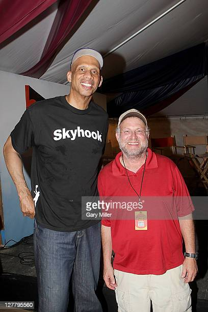 Kareem AbdulJabbar and Jerry Greenfield cofounder of Ben Jerry's pose after a press conference during the 2011 Bonnaroo Music And Arts Festival on...