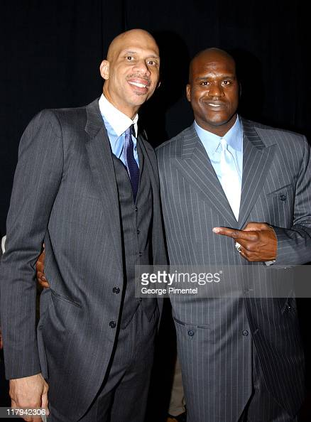 Kareem AbdulJabbar and Shaquille O'Neal during TNT Sports Presents the American Express 'Magic' Johnson All Star Celebration at Shrine Auditorium in...