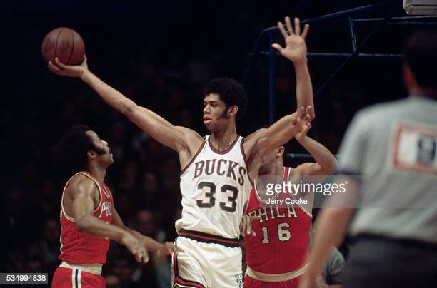 Kareem AbdulJabbar number 33 for the Milwaukee Bucks holds the basketball during a game at Madison Square Garden