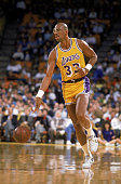 Kareem AbdulJabbar of the Los Angeles Lakers dribbles the ball during an NBA game at the Great Western Forum in Los Angeles California in 1988