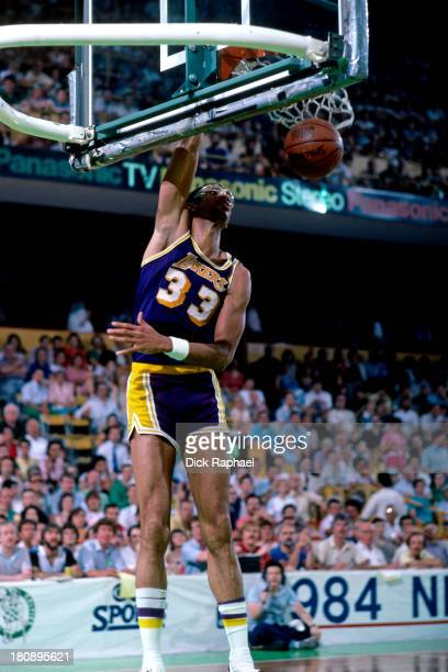 Kareem AbdulJabbar of the Los Angeles Lakers dunks during a game circa 1984 at the Boston Garden in Boston Massachusetts NOTE TO USER User expressly...