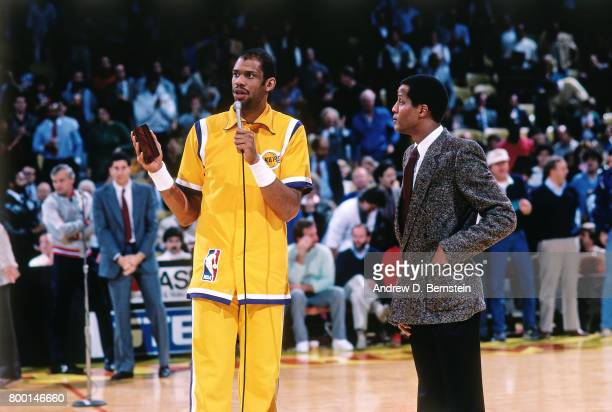 Kareem AbdulJabbar of the Los Angeles Lakers gives a speech during a game played circa 1989 at the Great Western Forum in Inglewood California NOTE...