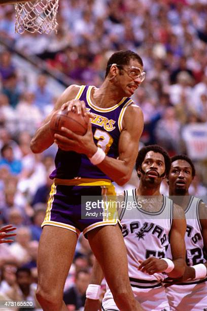 Kareem AbdulJabbar of the Los Angeles Lakers handles the ball against the San Antonio Spurs circa 1989 at HemisFair Arena in San Antonio TX NOTE TO...