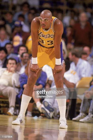 Kareem AbdulJabbar of the Los Angeles Lakers rests during an NBA game at the Great Western Forum in Los Angeles California in 1987