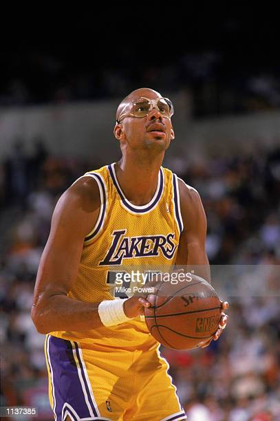 Kareem AbdulJabbar of the Los Angeles Lakers shoots a free throw during an NBA game at the Great Western Forum in Los Angeles California in 1987