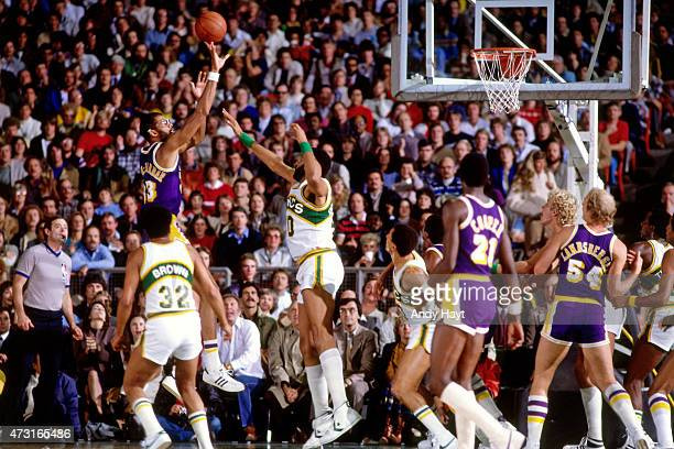 Kareem AbdulJabbar of the Los Angeles Lakers shoots against the Seattle SuperSonics circa 1980 at the Kingdome in Seattle WA NOTE TO USER User...
