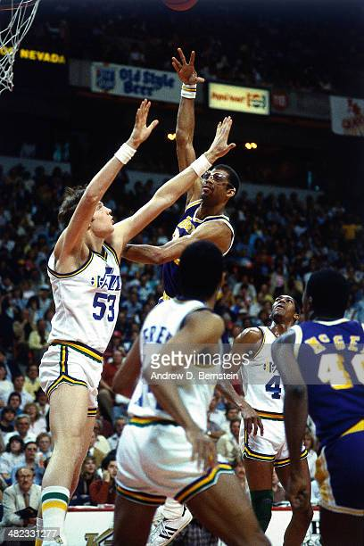 Kareem AbdulJabbar of the Los Angeles Lakers shoots against the Utah Jazz at the Thomas and Mack Center on April 5 1984 in Las Vegas Nevada On this...