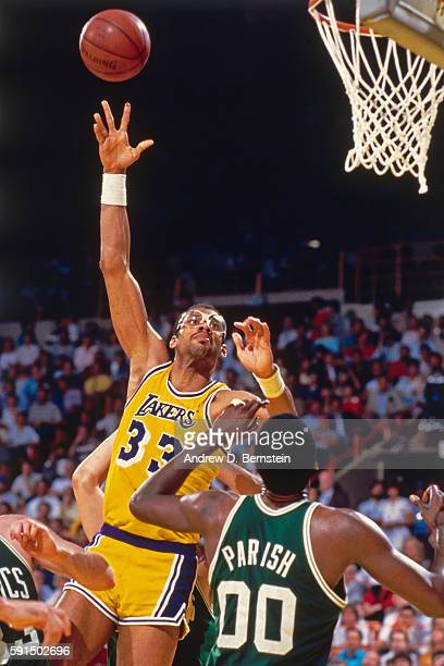 Kareem AbdulJabbar of the Los Angeles Lakers shoots the ball against the Boston Celtics during the NBA Finals on June 3 1984 in Inglewood California...