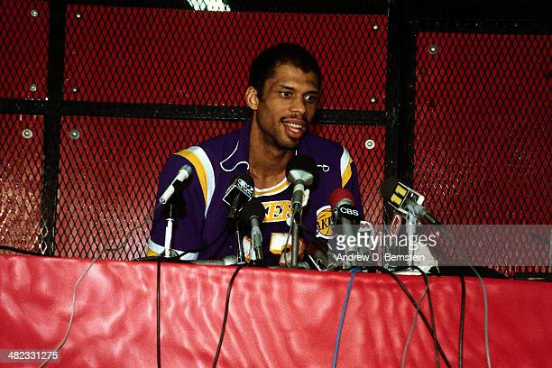 Kareem AbdulJabbar of the Los Angeles Lakers talks to the media following a game against the Utah Jazz at the Thomas and Mack Center on April 5 1984...