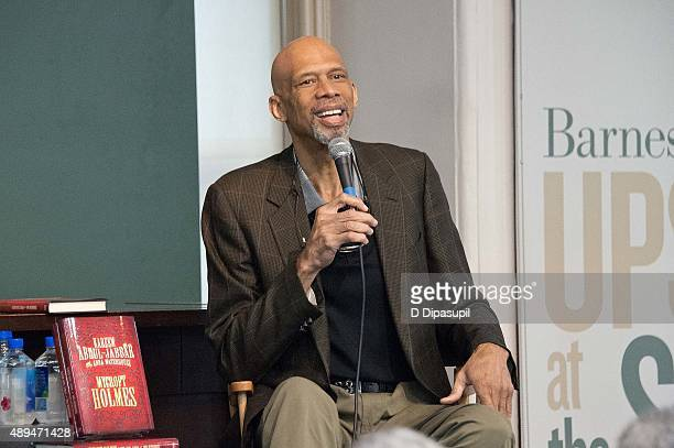 Kareem AbdulJabbar promotes his book 'Mycroft Holmes' at Barnes Noble Union Square on September 21 2015 in New York City