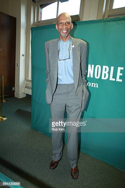 Kareem AbdulJabbar promotes his new book 'Writings On The Wall Searching For A New Equality Beyond Black And White' at Barnes Noble Union Square on...