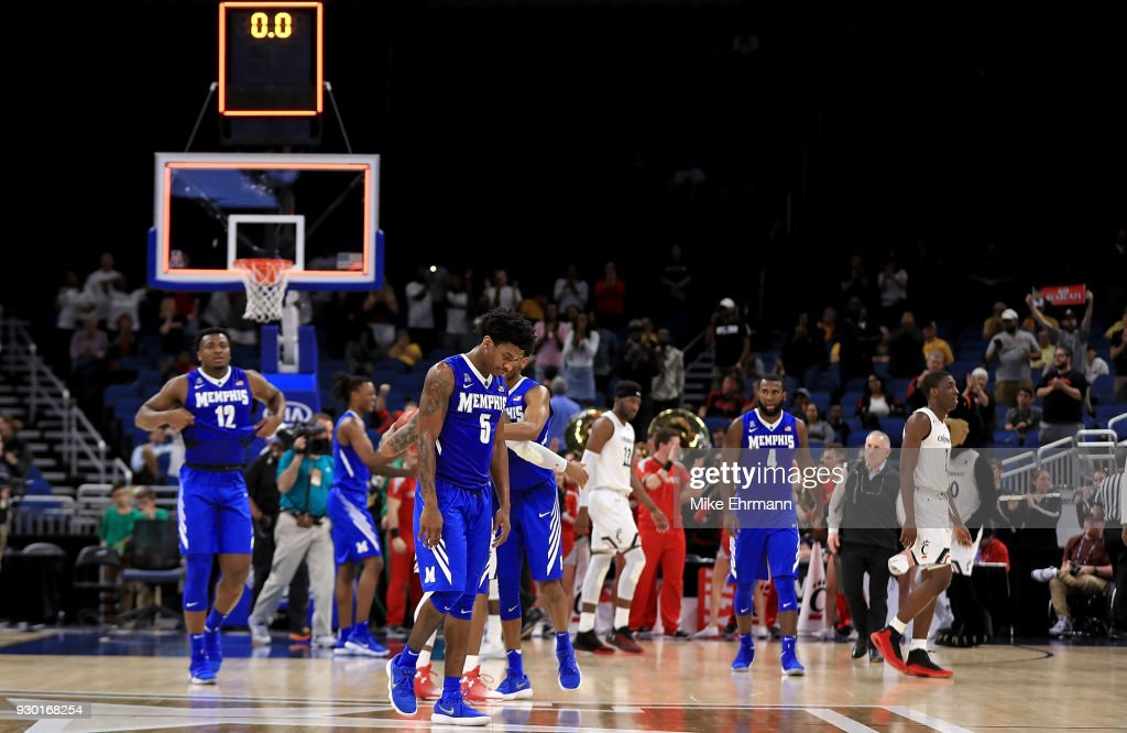 Kareem Brewton Jr. #5 of the Memphis Tigers walks off the floor after losing a semifinal game of the 2018 AAC Basketball Championship against the Cincinnati Bearcats at Amway Center on March 10, 2018 in Orlando, Florida.