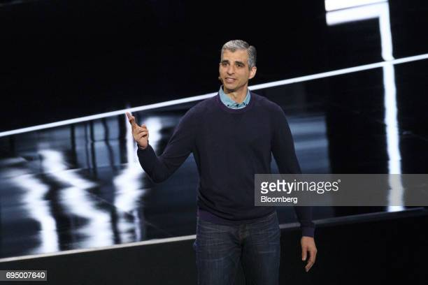 Kareem Choudhry head of Xbox software engineering speaks during the Microsoft Corp Xbox One X reveal event ahead of the E3 Electronic Entertainment...