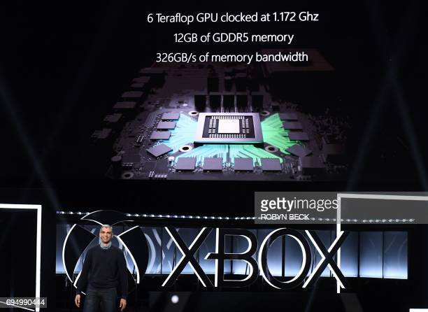 Kareem Choudhry speaks about the new Xbox One X at the Microsoft Xbox E3 2017 Briefing June 11 2017 at the Galen Center in Los Angeles California The...