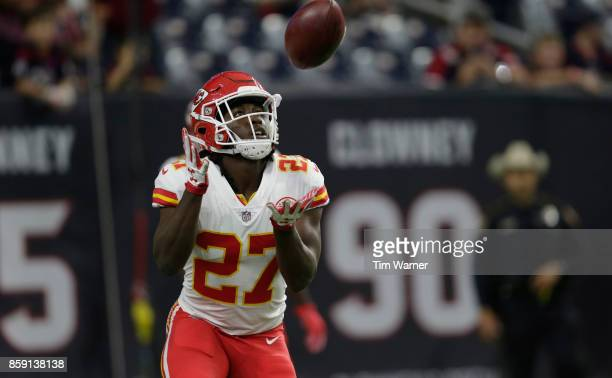 Kareem Hunt of the Kansas City Chiefs catches the ball before the game against the Houston Texans at NRG Stadium on October 8 2017 in Houston Texas