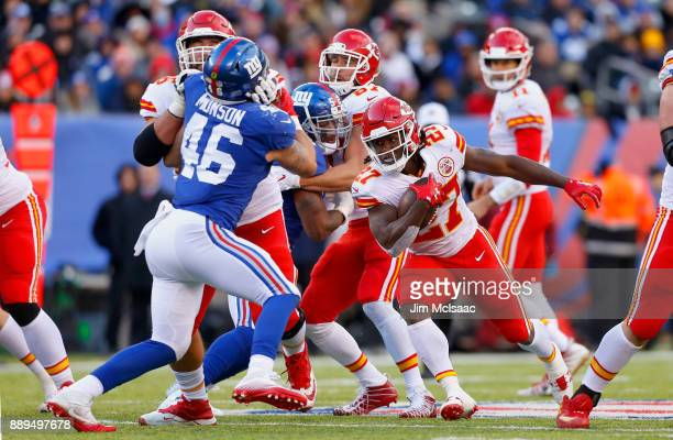 Kareem Hunt of the Kansas City Chiefs in action against the New York Giants on November 19 2017 at MetLife Stadium in East Rutherford New Jersey The...