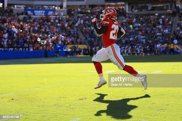 Kareem Hunt of the Kansas City Chiefs runs for a 69 yard touchdown during the second half of a game against the Los Angeles Chargers at StubHub...