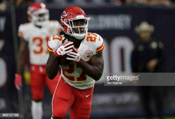 Kareem Hunt of the Kansas City Chiefs warms up before a game against the Houston Texans at NRG Stadium on October 8 2017 in Houston Texas
