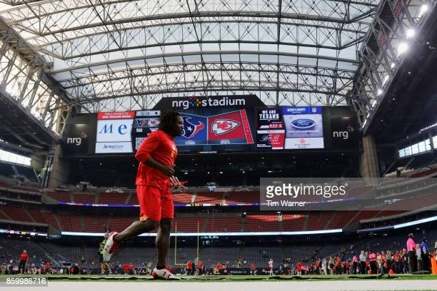 Kareem Hunt of the Kansas City Chiefs warms up before the game against the Houston Texans at NRG Stadium on October 8 2017 in Houston Texas