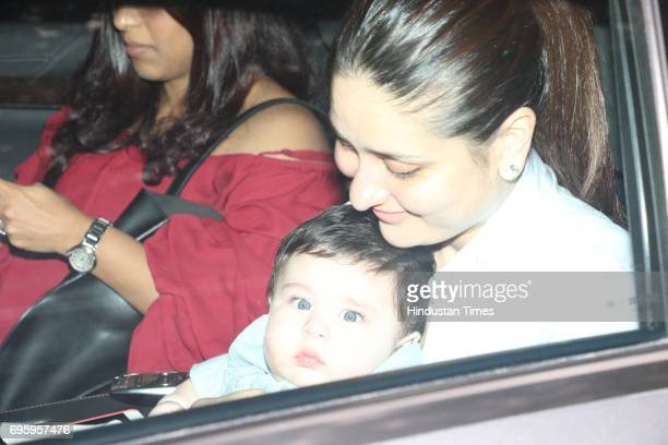Kareena Kapoor Khan and Taimur outside Tusshar Kapoor's residence after attending the first birthday party of Tusshar Kapoor's son Laksshya on June 1...