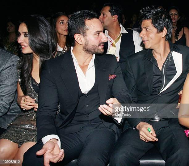 Kareena Kapoor Saif Ali Khan and Shah Rukh Khan at Day II of the HDIL Couture fashion week in Mumbai on October 7 2010