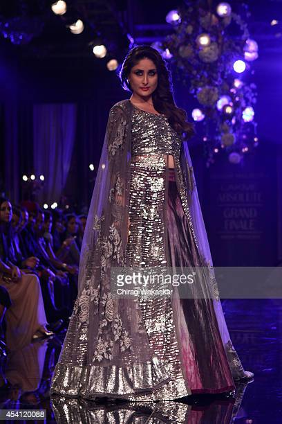 Kareena Kapoor showcases designs by Manish Malhotra during day 5 of Lakme Fashion Week Winter/Festive 2014 at The Palladium Hotel on August 24 2014...